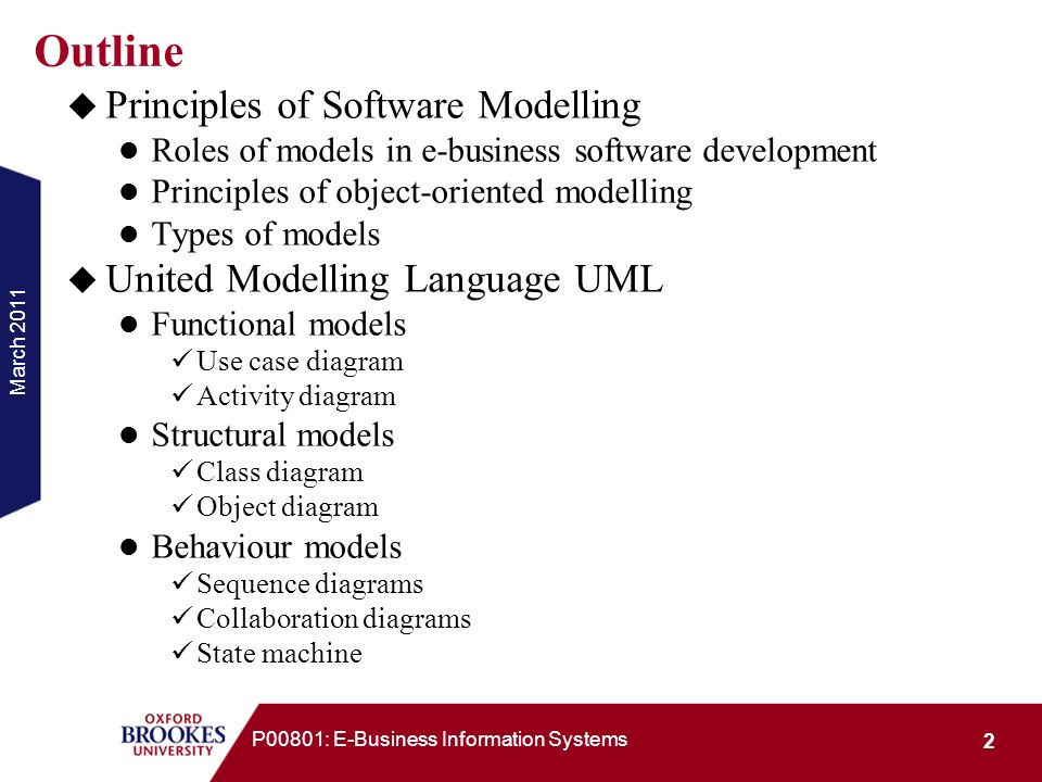 March 2011 23 P00801: E-Business Information Systems Notation of UMLs Activity Diagrams Action Class name Action/activity node: an action or an activity Object node: represent an object Initial node: beginning of a sequence of actions/activities Final activity node: stop all control flows and object flows in an activity Final flow node: stop a specific control flow or object flow Decision node Merge node Join node Fork node Swim lane: break up an activity diagram into parts to assign the activities or actions to the actors Control flow Object flow
