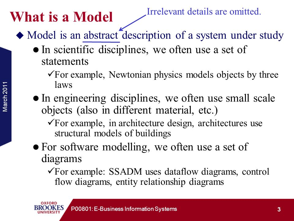 March 2011 3 P00801: E-Business Information Systems What is a Model Model is an abstract description of a system under study In scientific disciplines