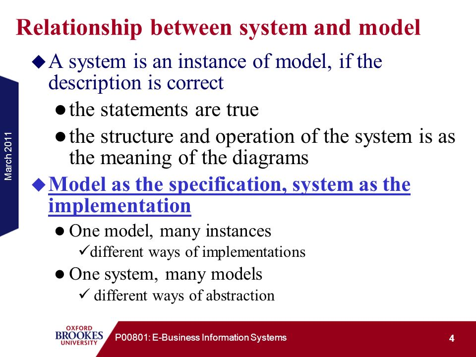 March 2011 35 P00801: E-Business Information Systems Example: Class Diagram with Attributes & Methods Person -surname -first name -address -telephone -date of birth -/age Patient -amount … +make appointment … Derived attribute: Its value is calculated from other attributes rather than stored.