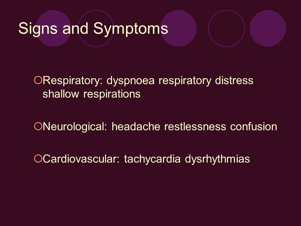 Signs and Symptoms Respiratory: dyspnoea respiratory distress shallow respirations Neurological: headache restlessness confusion Cardiovascular: tachy