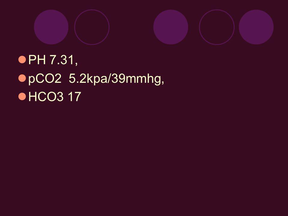 PH 7.31, pCO2 5.2kpa/39mmhg, HCO3 17