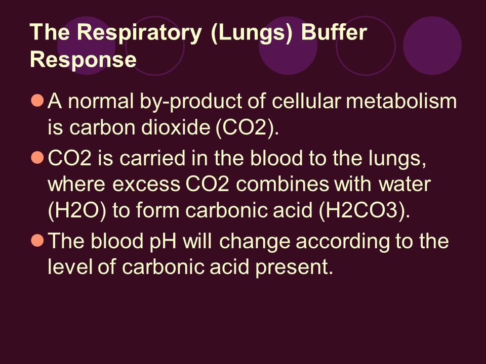 The Respiratory (Lungs) Buffer Response A normal by-product of cellular metabolism is carbon dioxide (CO2). CO2 is carried in the blood to the lungs,