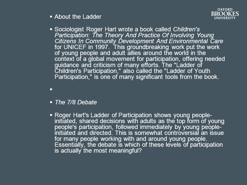 About the Ladder Sociologist Roger Hart wrote a book called Children s Participation: The Theory And Practice Of Involving Young Citizens In Community Development And Environmental Care for UNICEF in 1997.