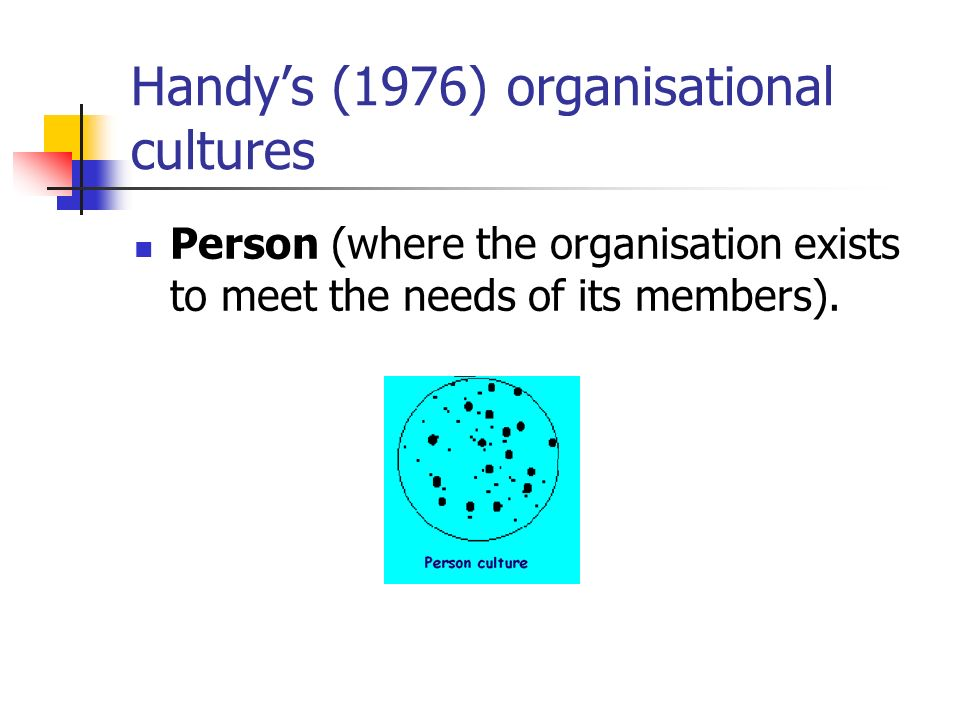 Handys (1976) organisational cultures Person (where the organisation exists to meet the needs of its members).