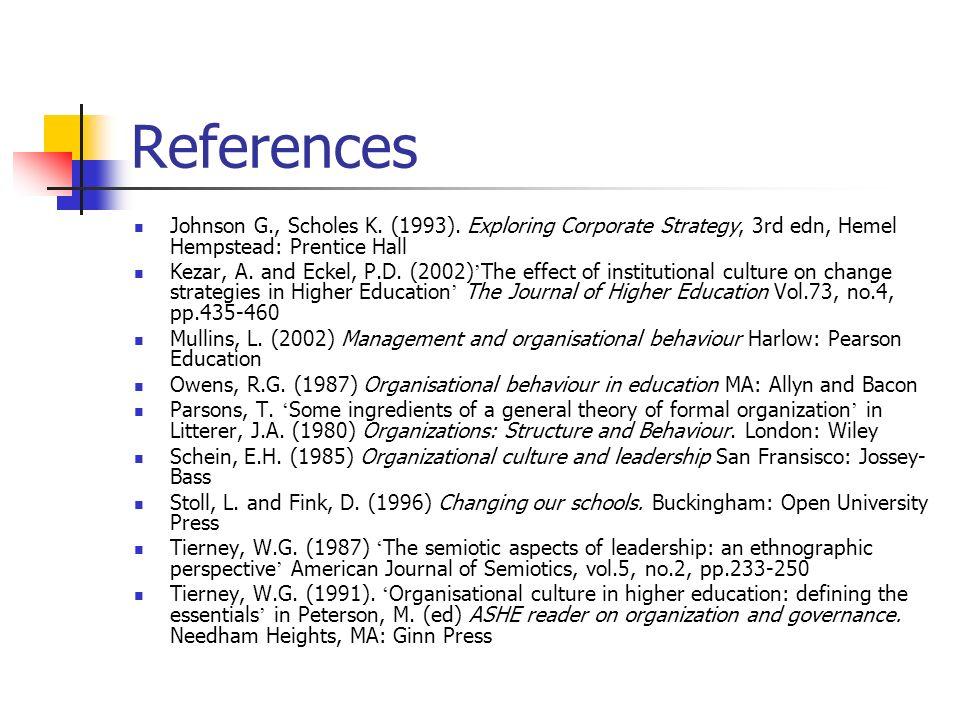 References Johnson G., Scholes K. (1993). Exploring Corporate Strategy, 3rd edn, Hemel Hempstead: Prentice Hall Kezar, A. and Eckel, P.D. (2002) The e