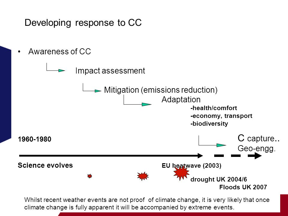 School of the Built Environment Developing response to CC Awareness of CC Impact assessment Mitigation (emissions reduction) Adaptation -health/comfort -economy, transport -biodiversity Science evolves EU heatwave (2003) drought UK 2004/6 Floods UK 2007 Whilst recent weather events are not proof of climate change, it is very likely that once climate change is fully apparent it will be accompanied by extreme events.