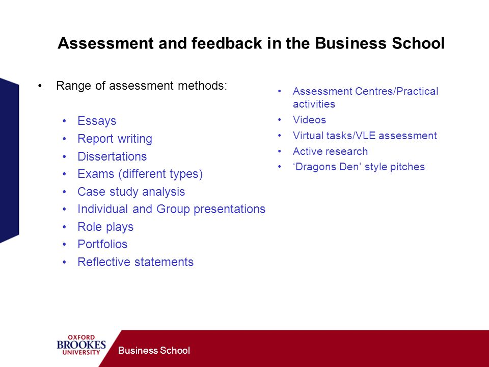 Business School Assessment and feedback in the Business School Range of assessment methods: Essays Report writing Dissertations Exams (different types) Case study analysis Individual and Group presentations Role plays Portfolios Reflective statements Assessment Centres/Practical activities Videos Virtual tasks/VLE assessment Active research Dragons Den style pitches