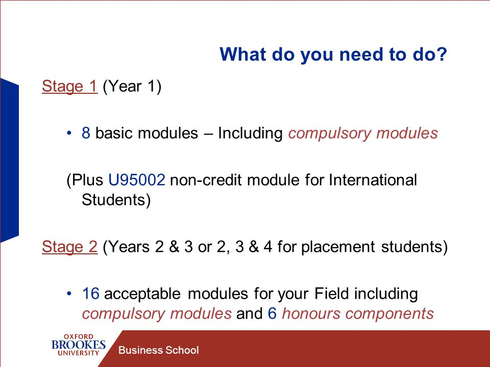 Business School What do you need to do? Stage 1 (Year 1) 8 basic modules – Including compulsory modules (Plus U95002 non-credit module for Internation