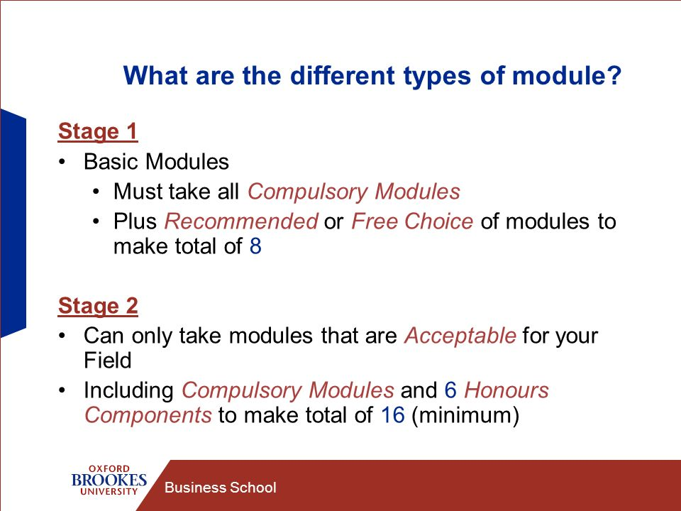 Business School What are the different types of module? Stage 1 Basic Modules Must take all Compulsory Modules Plus Recommended or Free Choice of modu