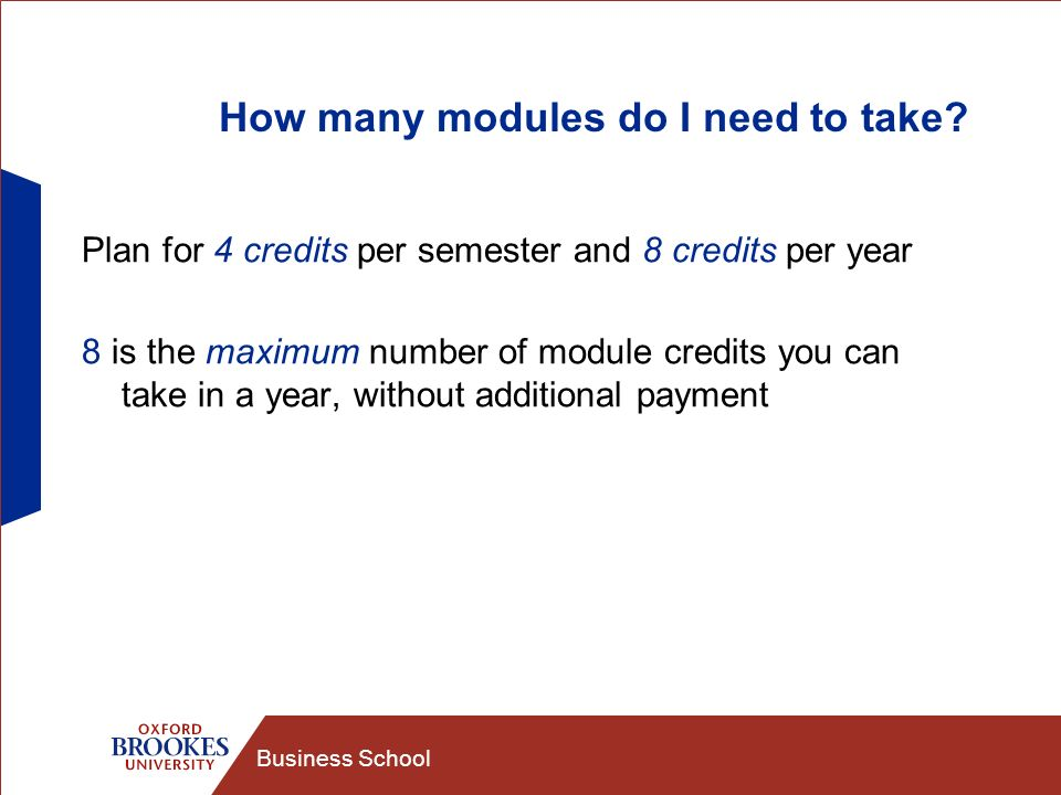 Business School How many modules do I need to take? Plan for 4 credits per semester and 8 credits per year 8 is the maximum number of module credits y