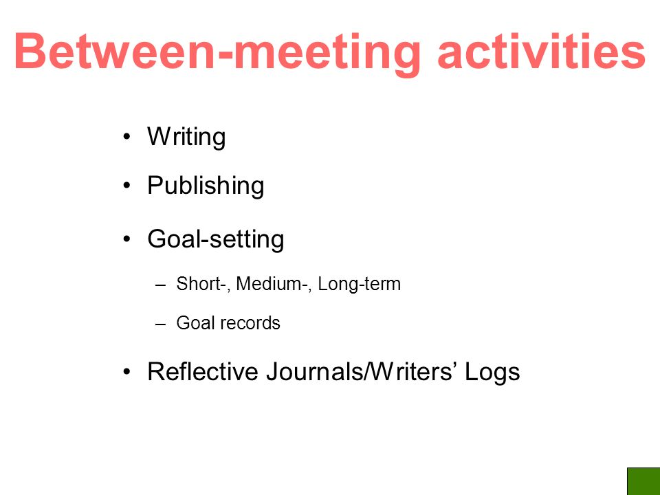 Between-meeting activities Writing Publishing Goal-setting –Short-, Medium-, Long-term –Goal records Reflective Journals/Writers Logs