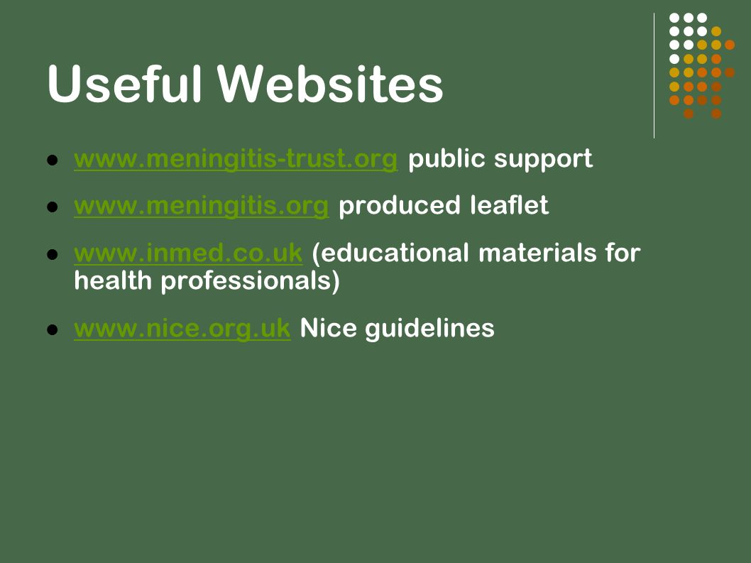Useful Websites www.meningitis-trust.org public support www.meningitis-trust.org www.meningitis.org produced leaflet www.meningitis.org www.inmed.co.u