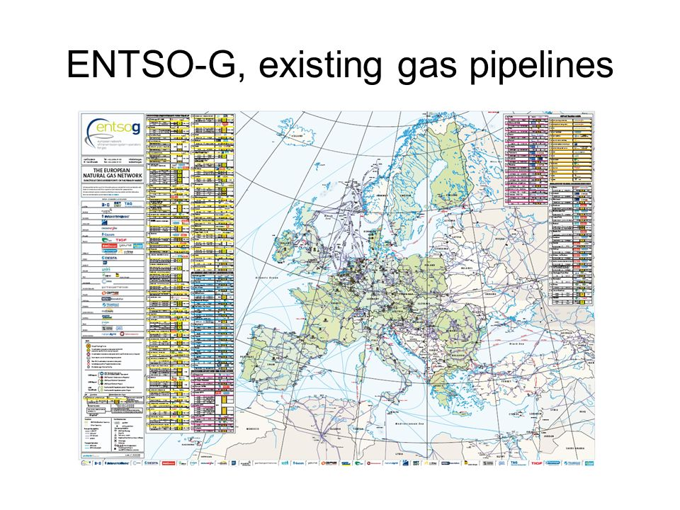 ENTSO-G, existing gas pipelines
