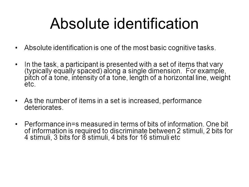 Information transmitted from stimulus to response as a function of stimulus set size.