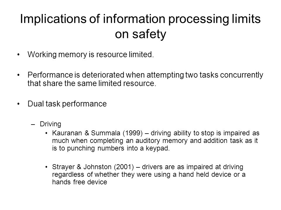 Implications of information processing limits on safety Multiple object tracking