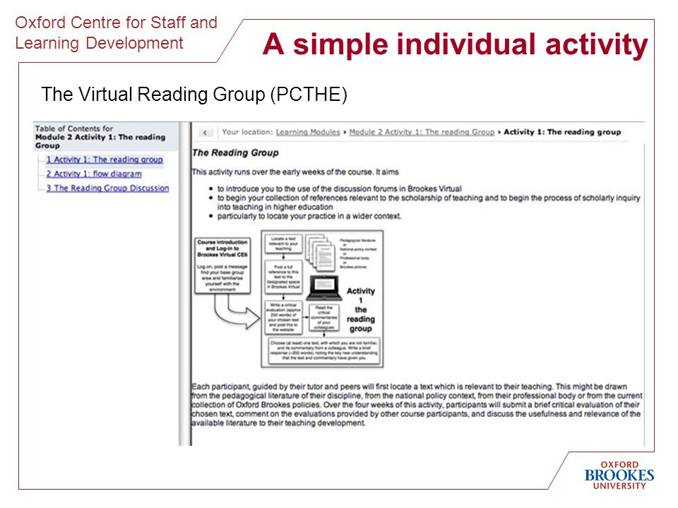 Oxford Centre for Staff and Learning Development A simple individual activity The Virtual Reading Group (PCTHE)