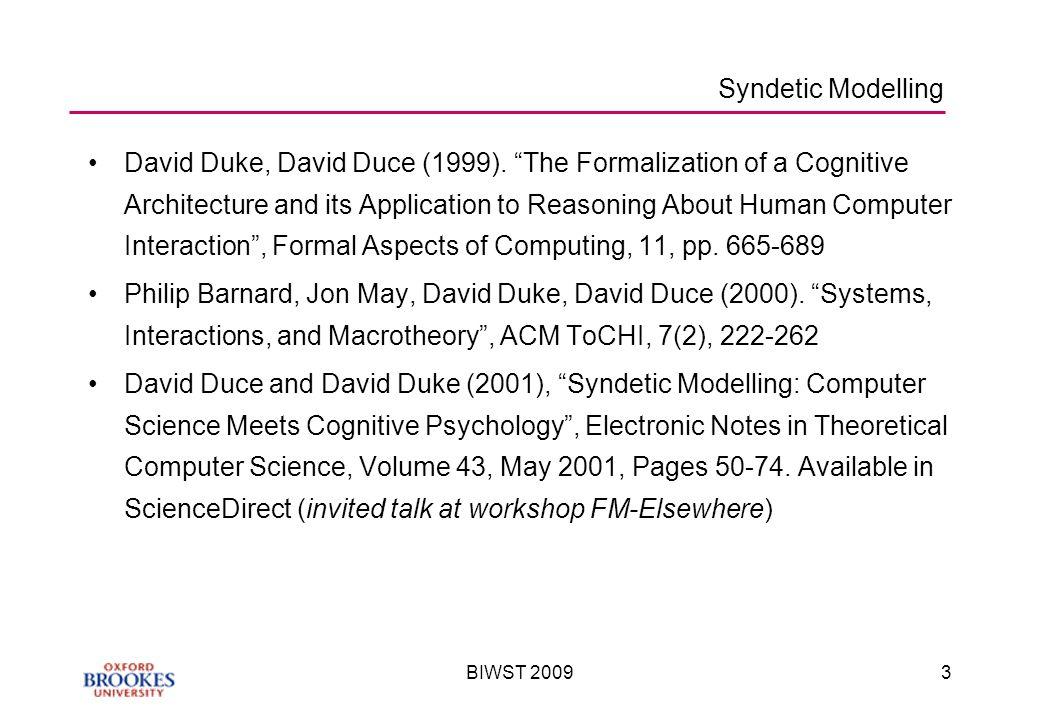 BIWST 20093 Syndetic Modelling David Duke, David Duce (1999).