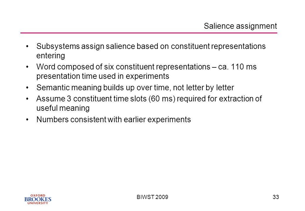 BIWST Salience assignment Subsystems assign salience based on constituent representations entering Word composed of six constituent representations – ca.