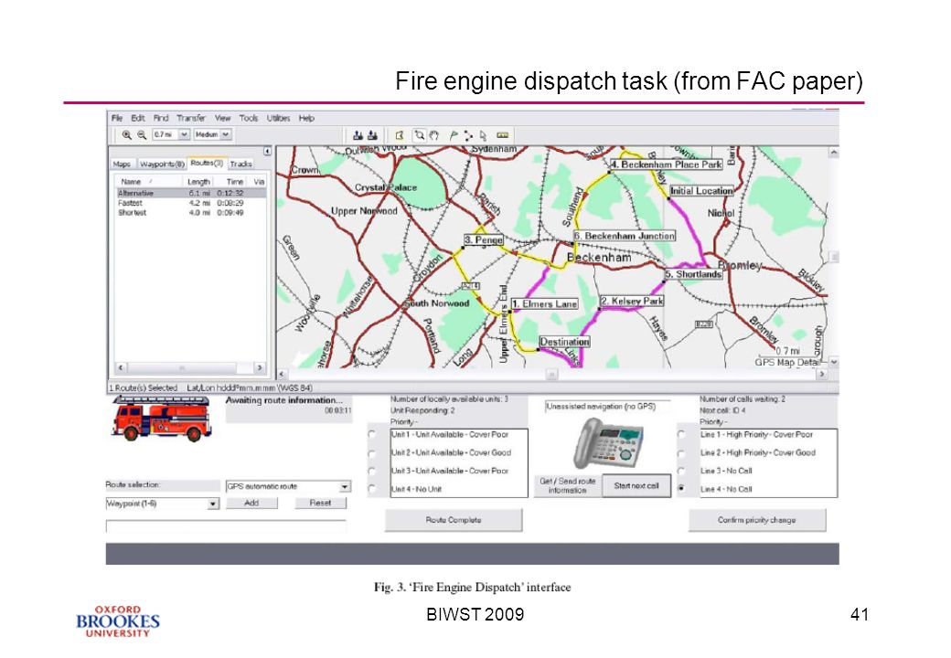 BIWST Fire engine dispatch task (from FAC paper)