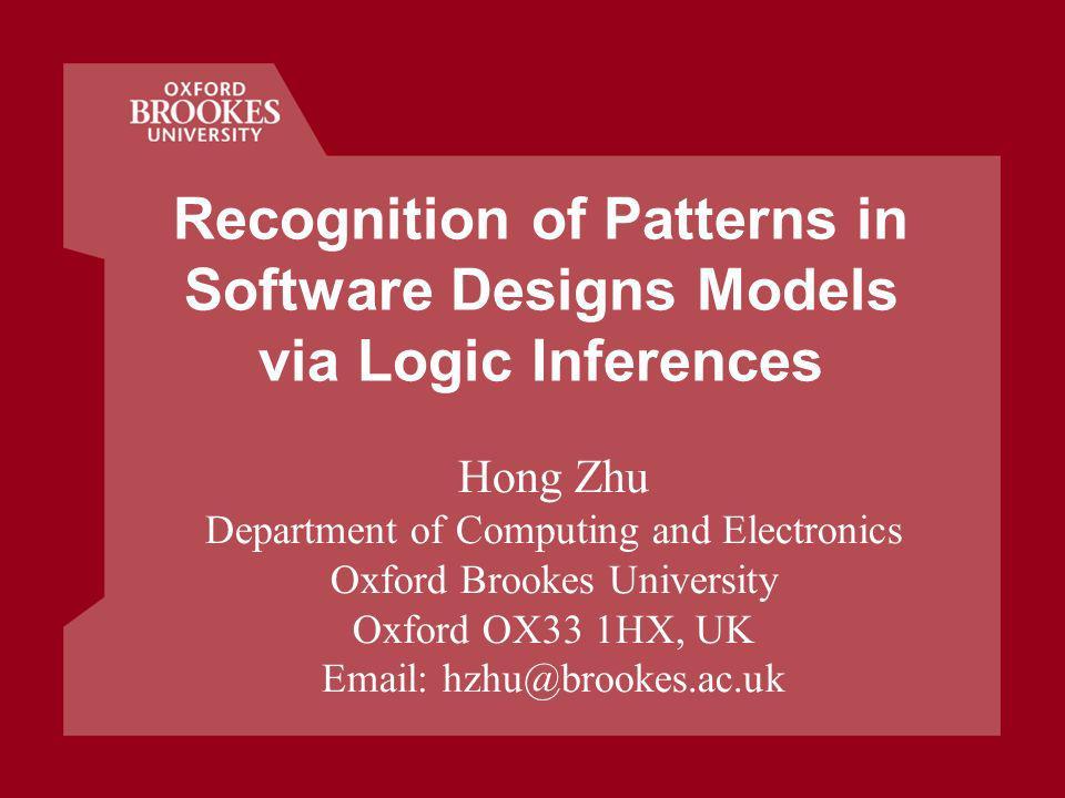 Sept.2010 42 Seminar: Recognition of Patterns in Design Models References I.