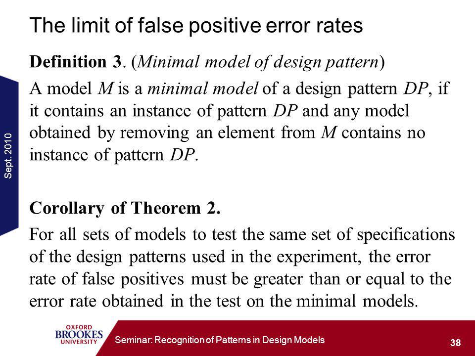 Sept. 2010 38 Seminar: Recognition of Patterns in Design Models The limit of false positive error rates Definition 3. (Minimal model of design pattern