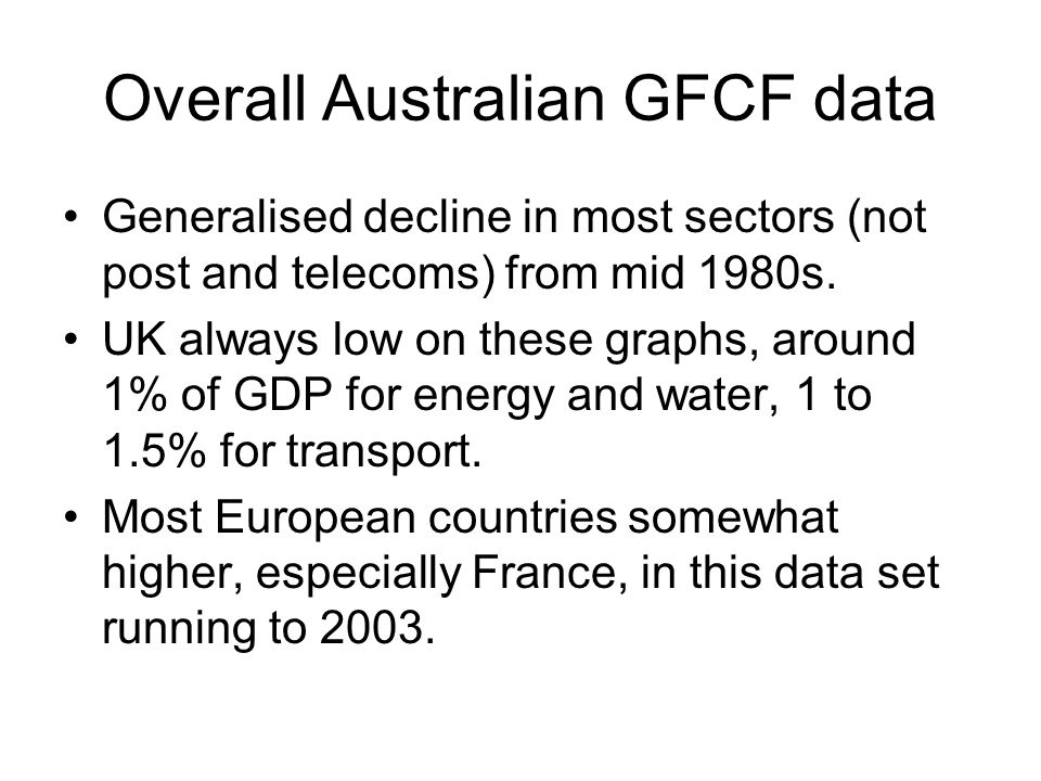 Overall Australian GFCF data Generalised decline in most sectors (not post and telecoms) from mid 1980s.