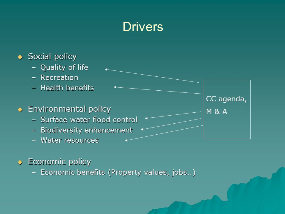 Drivers Social policy Social policy –Quality of life –Recreation –Health benefits Environmental policy Environmental policy –Surface water flood control –Biodiversity enhancement –Water resources Economic policy Economic policy –Economic benefits (Property values, jobs..) CC agenda, M & A