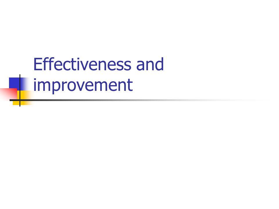 Effectiveness and improvement