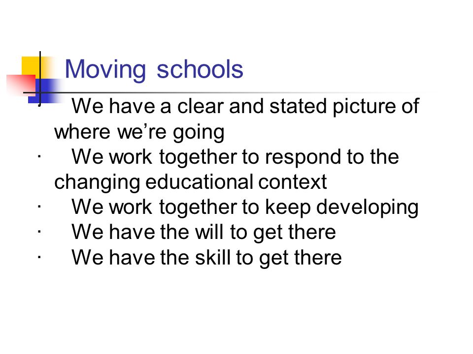 Moving schools · We have a clear and stated picture of where were going · We work together to respond to the changing educational context · We work to