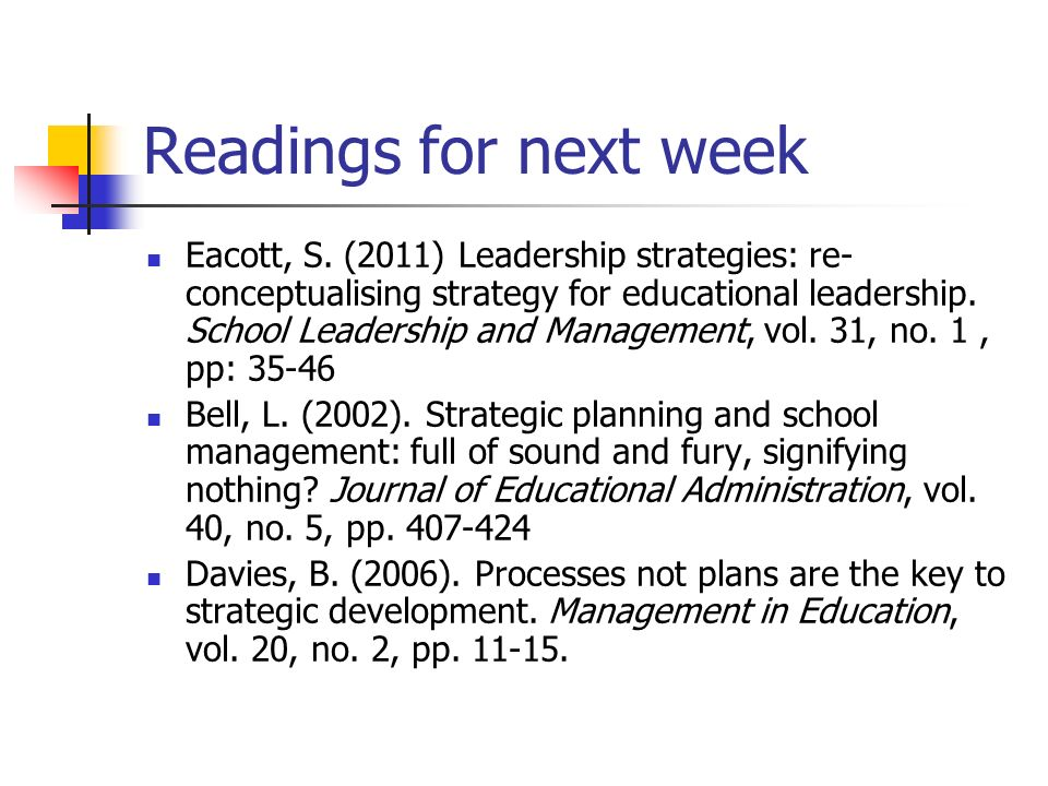 Readings for next week Eacott, S. (2011) Leadership strategies: re- conceptualising strategy for educational leadership. School Leadership and Managem