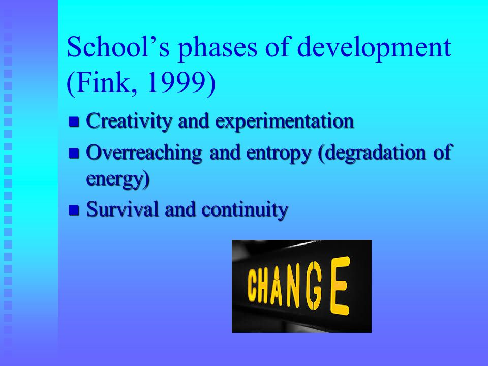 Schools phases of development (Fink, 1999) Creativity and experimentation Creativity and experimentation Overreaching and entropy (degradation of ener