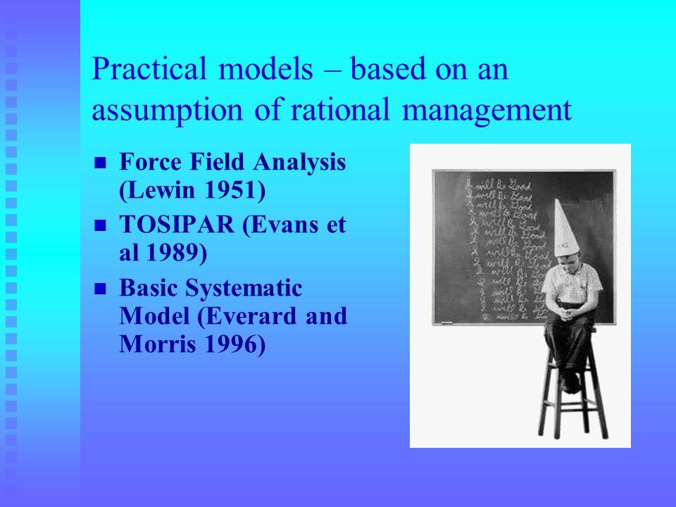 Practical models – based on an assumption of rational management Force Field Analysis (Lewin 1951) TOSIPAR (Evans et al 1989) Basic Systematic Model (