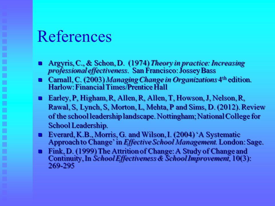 References Argyris, C., & Schon, D. (1974) Theory in practice: Increasing professional effectiveness. San Francisco: Jossey Bass Argyris, C., & Schon,