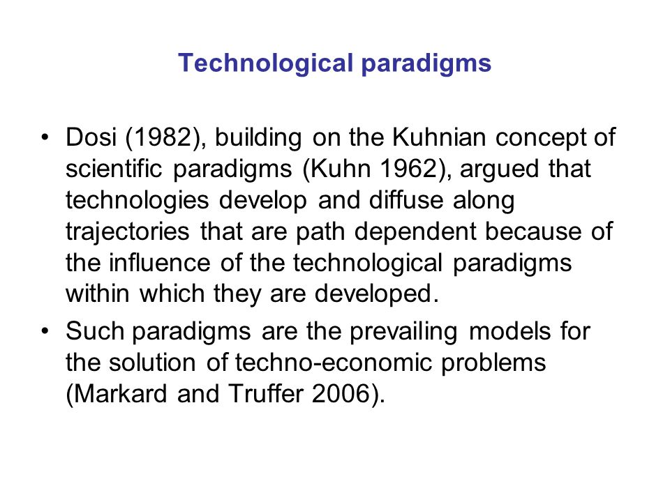 Economic and spatial niches In all these cases the economic niches that gave birth to iconic radical innovations that sparked technological revolutions were also spatial niches where the existing technological paradigms were either weak or not represented.