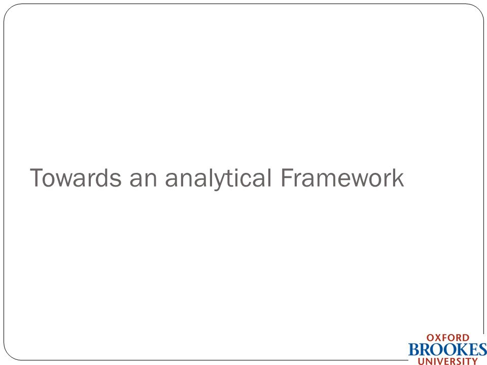 Towards an analytical Framework