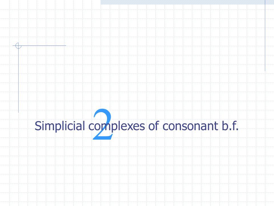2 Simplicial complexes of consonant b.f.