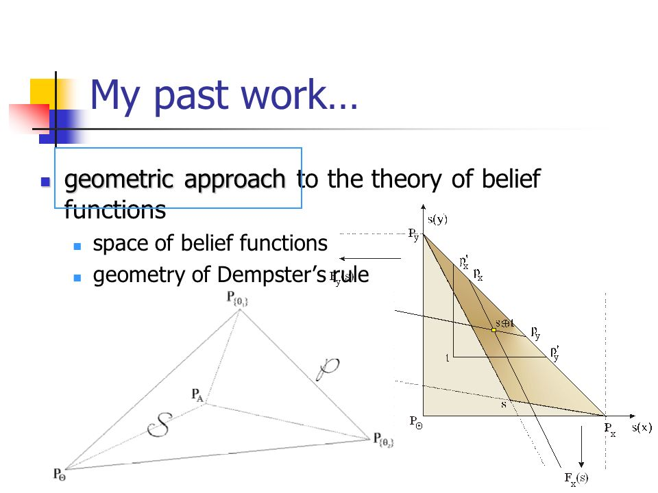 My past work… geometric approach geometric approach to the theory of belief functions space of belief functions geometry of Dempsters rule