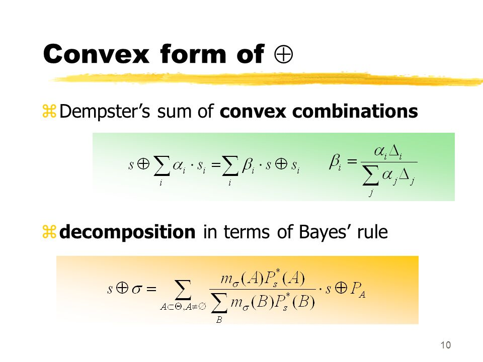 10 Convex form of zDempsters sum of convex combinations zdecomposition in terms of Bayes rule