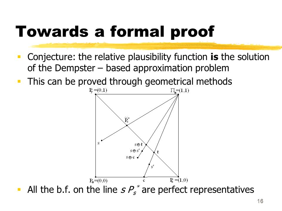 16 Towards a formal proof Conjecture: the relative plausibility function is the solution of the Dempster – based approximation problem This can be proved through geometrical methods All the b.f.