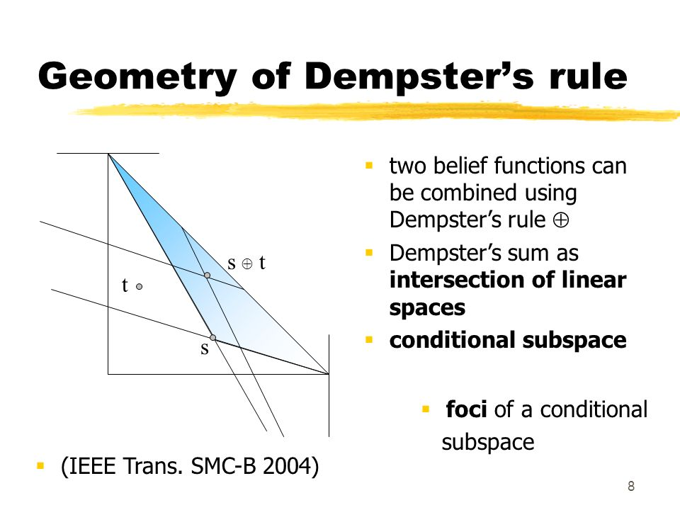 8 Geometry of Dempsters rule two belief functions can be combined using Dempsters rule Dempsters sum as intersection of linear spaces conditional subspace foci of a conditional subspace (IEEE Trans.