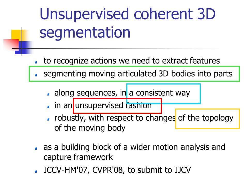 Unsupervised coherent 3D segmentation to recognize actions we need to extract features segmenting moving articulated 3D bodies into parts along sequences, in a consistent way in an unsupervised fashion robustly, with respect to changes of the topology of the moving body as a building block of a wider motion analysis and capture framework ICCV-HM 07, CVPR 08, to submit to IJCV