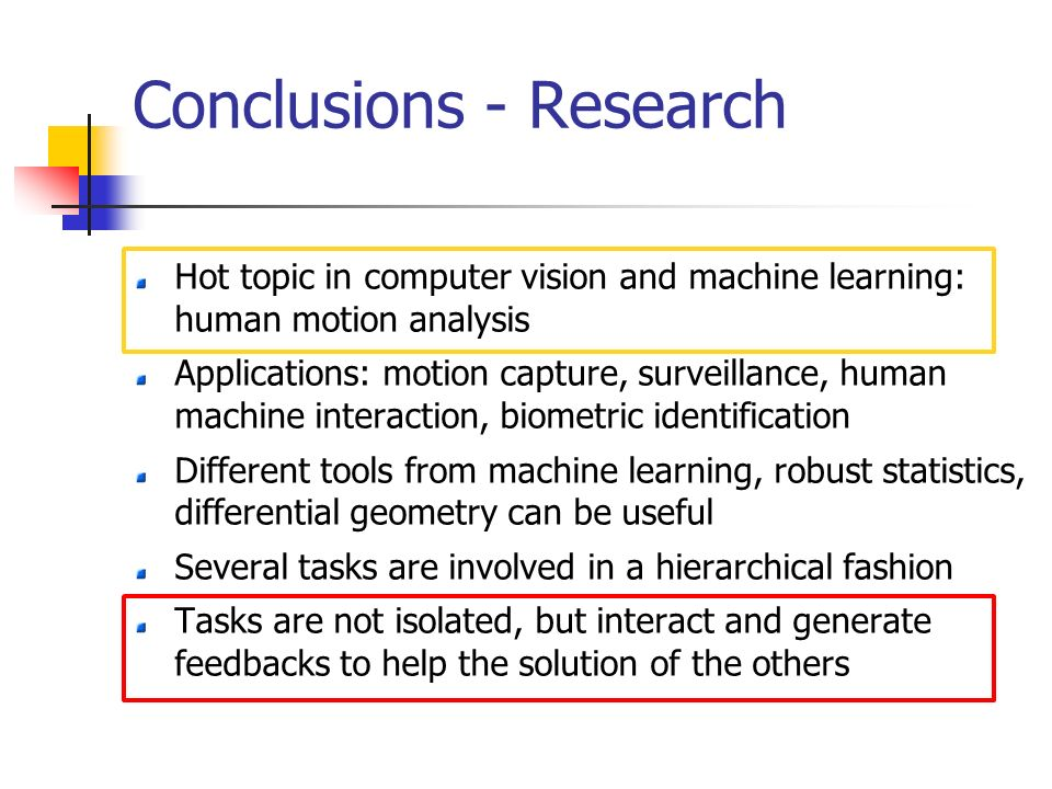 Conclusions - Research Hot topic in computer vision and machine learning: human motion analysis Applications: motion capture, surveillance, human machine interaction, biometric identification Different tools from machine learning, robust statistics, differential geometry can be useful Several tasks are involved in a hierarchical fashion Tasks are not isolated, but interact and generate feedbacks to help the solution of the others