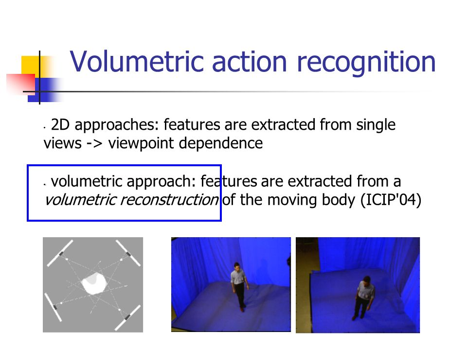 Volumetric action recognition 2D approaches: features are extracted from single views -> viewpoint dependence volumetric approach: features are extracted from a volumetric reconstruction of the moving body (ICIP 04)