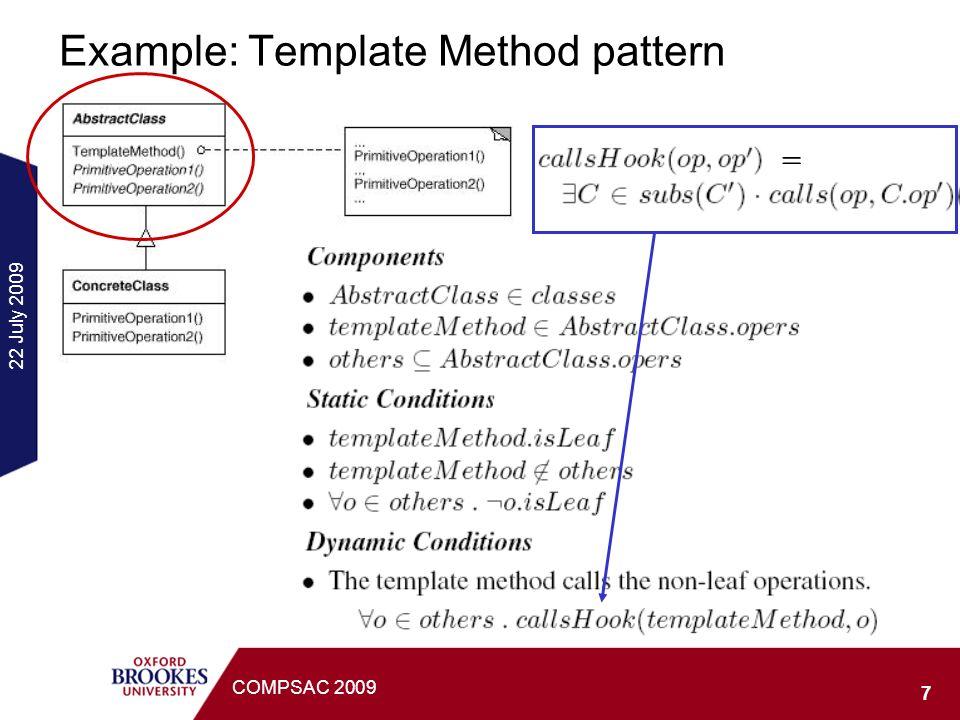 22 July 2009 18 COMPSAC 2009 Overview of the Design Instances: Class+Seq Set