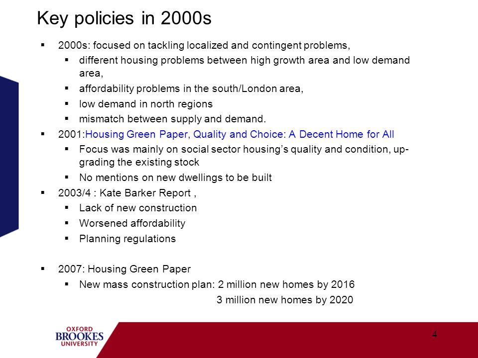 Affordable Homes Programme (2011-2015) Aims to increase the supply of new affordable homes in England.