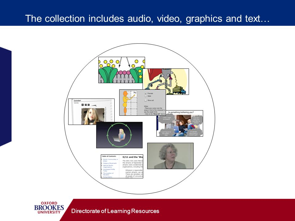 Directorate of Learning Resources The collection includes audio, video, graphics and text…
