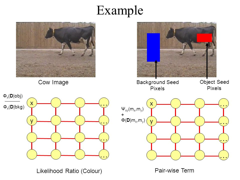 Example Cow Image Object Seed Pixels Background Seed Pixels Pair-wise Term x … y … … … x … y … … … Likelihood Ratio (Colour) Ψ xy (m x,m y ) + Φ(D|m x,m y ) Φ x (D|obj) Φ x (D|bkg)