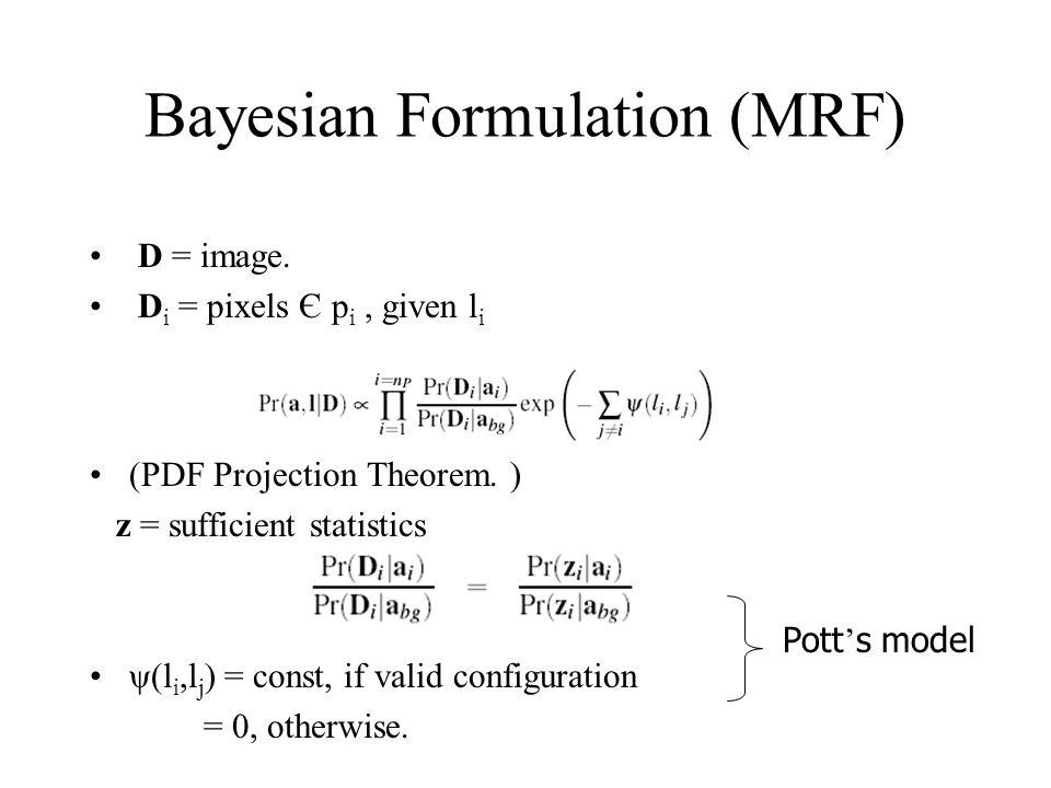 Bayesian Formulation (MRF) D = image. D i = pixels Є p i, given l i (PDF Projection Theorem.
