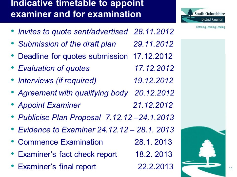 Indicative timetable to appoint examiner and for examination Invites to quote sent/advertised 28.11.2012 Submission of the draft plan 29.11.2012 Deadline for quotes submission 17.12.2012 Evaluation of quotes 17.12.2012 Interviews (if required) 19.12.2012 Agreement with qualifying body 20.12.2012 Appoint Examiner 21.12.2012 Publicise Plan Proposal 7.12.12 –24.1.2013 Evidence to Examiner 24.12.12 – 28.1.