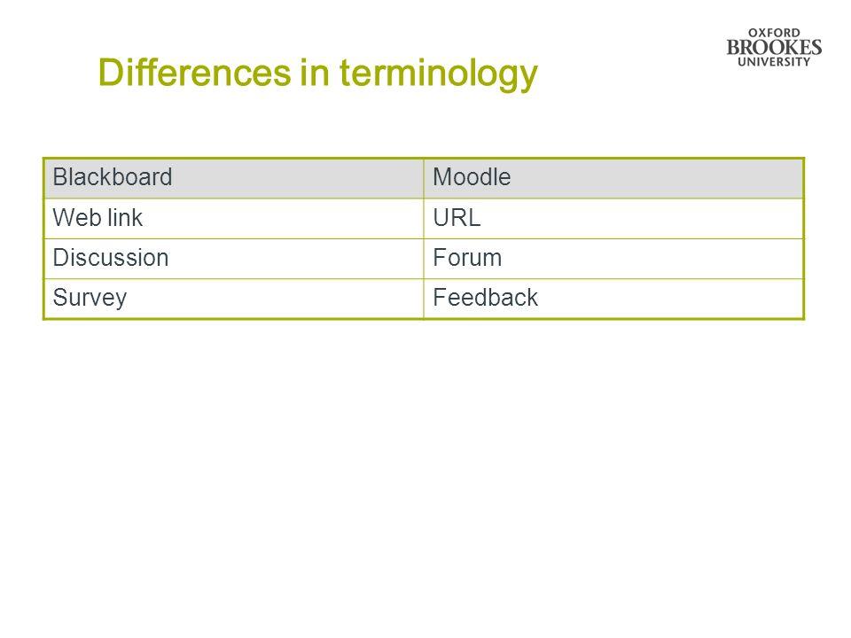 Differences in terminology BlackboardMoodle Web linkURL DiscussionForum SurveyFeedback